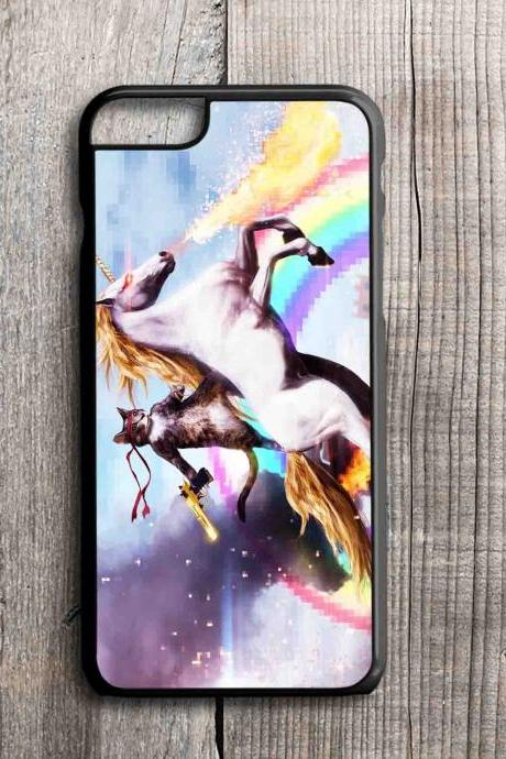iPhone 4 4S 5 5S 5C 6 6 Plus case, iPhone 4 4S 5 5S 5C 6 6 Pus cover,Cat Riding Unicorn with Gun Funny Cute